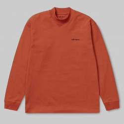 Carhartt - L/S Mockneck Script Embro T-S  Couleurs Carhartt:Brick Orange / Black