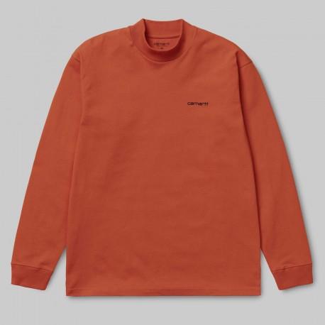 Carhartt - L/S Mockneck Script Embro T-S Couleurs Carhartt:Brick Orange / Black